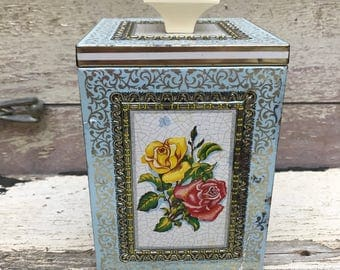 ornate gold & silver floral tin