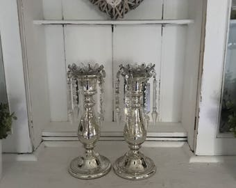 a pair French Victorian silvered Mercury glass Candle holders prisms + crystal