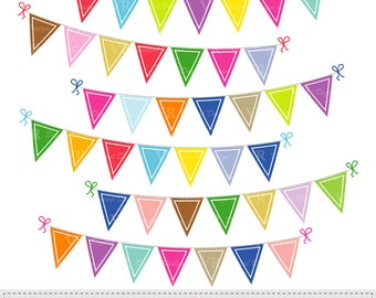 Colorful Pennant Bunting Banners Clip Art, Birthday Party Bunting Banners Clipart, Bunting Flags Digital Download Vector Clip Art