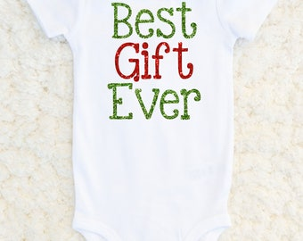 Baby First Christmas Outfit - Best Gift Ever - Baby Girl Christmas Shirt - Baby 1st Christmas Outfit - New Baby Christmas Shirt
