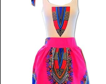PInk African Dashiki Print Two Piece Set