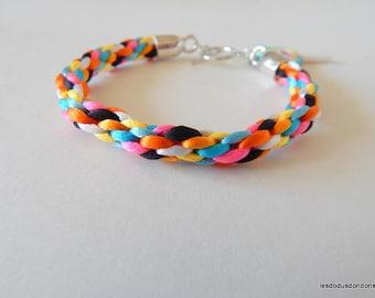 Women multicolor Rainbow kumihimo braided bracelet