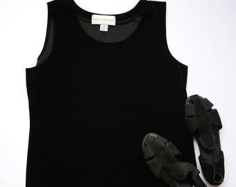 Black Velvet Sleeveless Blouse - Vintage Women's Clothing - Hipster, 90s, Velvet, Urban