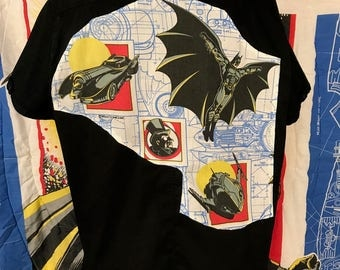 Batman Shirt By Maria B. DC Comics 1992 Vintage Batman Fabric. Eco. Size XL.