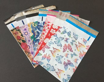 50 YOU CHOOSE 6x9 Designer Mailers Butterflies Little Red Flowers Hibiscus Roses Paisley Shipping Bags Poly Mailers