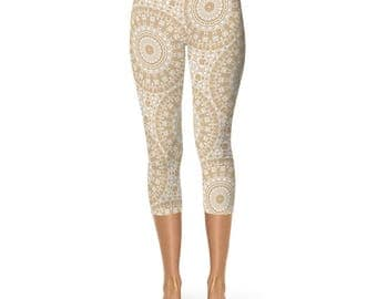 Capri Leggings - Cream Yoga Leggings, Tan Mandala Yoga Pants, Boho Leggings