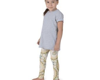 Kids Yoga Leggings, Mustard Yellow and Teal Mandala Patterned Leggings for Girls