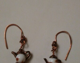 Vintage Copper & Porcelain Teapot Earrings