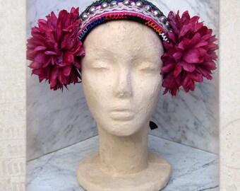 ATS Costume Headdress, Tribal Belly Dance Headband, Tribal Fusion Headpiece, Flowers Headdress, Gypsy, Boho Headdress with  Silk Flowers