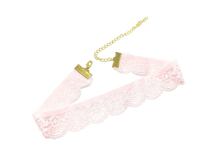 ANASTASIA: pale pink stretch lace choker