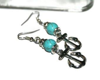 Boat Anchor Earrings Turquoise Earrings Blue Earrings Nautical Earrings Women Blue Earring Turquoise Jewelry Beach Earrings Boho Jewelry