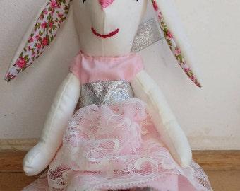 Easter bunny handmade rag doll, heirloom doll, stuffed animal