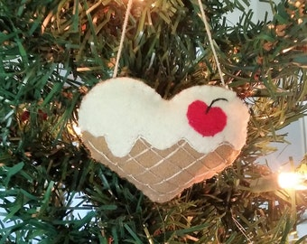 Ice Cream Sundae Heart ornament