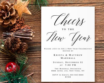 New year eve invitation template Cheers to the new year Party invite Cheers to 2018 New year eve party invitation pdf New year eve invite