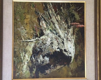 EXPRESSIONISTIC OIL PAINTING on board of a Horse Head, signed, matted and framed.