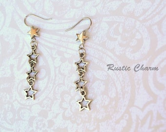 Silver Tone Star Dangle Hook Earrings with Star Beads