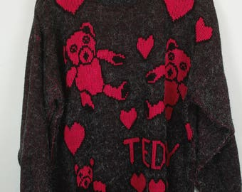 Vintage Sweater, Vintage Knit Pullover, 80s, 90s, grey and pink, hearts and teddies, oversized look