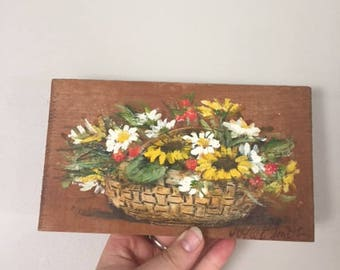 Hand painted Sunflower Basket on Wood