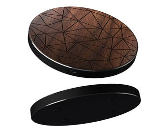 iPhone 8, 8 Plus, X Wireless Charger Geometric | 10W Fast Charge Charging Pad also for Samsung S8, S8 Plus | Real wood laser engraved