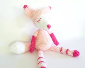 READY TO POST, Fox, Crochet Fox, Toy Fox, Crochet Animal, Baby Toy Fox, baby girl toy, white stork creations, personalised toy