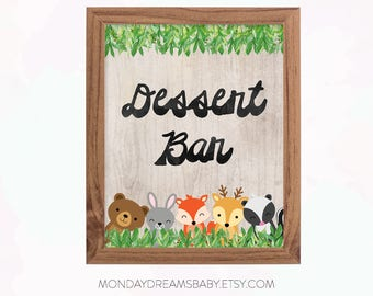 Woodland Baby Shower Dessert Bar Printable Sign Forest Animals, Baby Boy  Theme, Woodland Baby