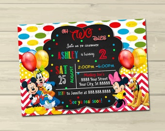 Mickey and Friends Birthday Invitations, Printed or Digital File*FREE SHIP