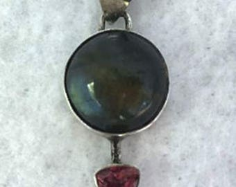 Sterling Silver, Labradorite and Tourmaline Pendent (used)