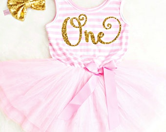 First Birthday Outfit Girls 1st Birthday Girl Outfit First Birthday Dress 2nd Birthday Outfit Gold and Pink 1st Birthday Dress Pink Tutu