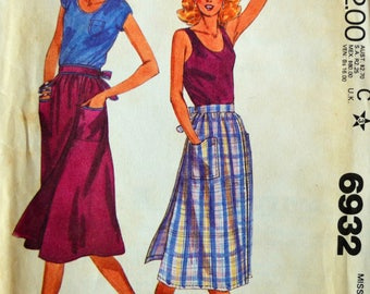Uncut 1980s McCall's Vintage Sewing Pattern 6932, Size L; Misses' Skirt