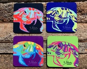 Warhol Inspired Elmer Turtle Coasters Set of 4