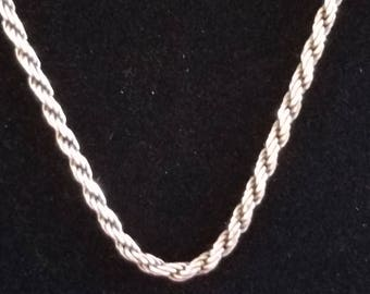 """C027 9.5g Vintage Solid Silver Twister Rope Chain with Some Dark Patina 20"""" Sterling Necklace"""