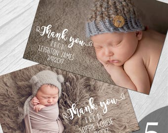 Personalised New Baby Photo Thank You Cards Boy Girl Birth Announcement Printed on 350gsm card NB5