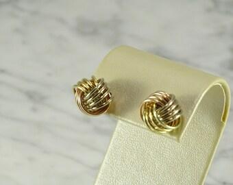14K Yellow / Rose Gold Woven Knot Earrings (pierced)