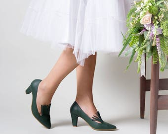 Green heels, Wedding heels, High heels, Leather heels, Evening shoes, Heels, High heel shoes, Wedding shoes, Green Pumps