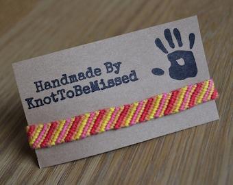 Children Size Handmade Fire Striped Friendship Bracelet Red Orange Yellow