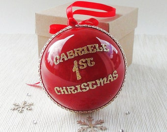 Baby First Christmas Ornament, Red Christmas Bauble, Personalised Christmas Gift, Baby Christmas Gift, Custom Christmas Ornaments