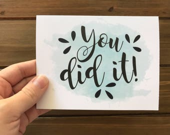 You Did It Card, Pretty Congrats Card, Cute Congrats Card, Congratulations Card, Congrats Greeting Card, Celebration Card, Graduation Card