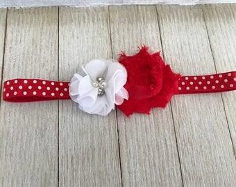 Elastic Headband - Flower Headband - Red and White headband - Baby Shower Gift - Newborn Headband - Girls Headband