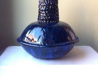 Sardinian blue sea ceramic vase vintage