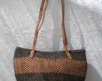 Sisal bag-Shoulder Bag - Sisal Leather Bag- Woven Sisal bag - 70's Inspiration - OficinaDartesa*Craftswoman Shop