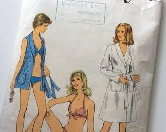 1970s Style Beach Robe & Bikini Sewing Pattern No. 4633 Modern Size 14