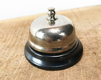 Vintage Shop Bell//Chrome and Black Teacher's Bell//Call Bell