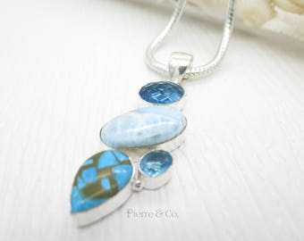 Larimar Blue Topaz and Turquoise Sterling Silver Pendant and Chain