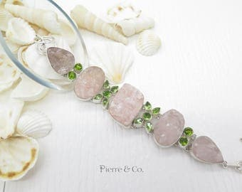 Pink Drusy and Peridot Sterling Silver Bracelet