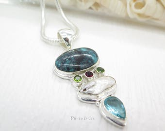 Chrysocolla Fresh water Pearl Peridot and Blue Topaz Sterling Silver Pendant and Chain
