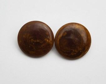 Vintage Bakelite Dark Brown Tortoiseshell Marbled Large Circular Disk Dome Clip On Earrings