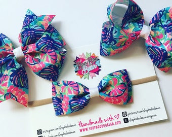 Exotic Garden, Lilly Pulitzer Inspired Hair Bow, Lilly Pulitzer Bow, Headband, Lilly Bow, Lilly Pulitzer Inspired Ribbon, Buy 5 Get 1 Free
