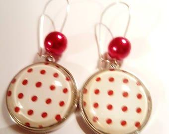 Earring ethnic original vintage black white red dots