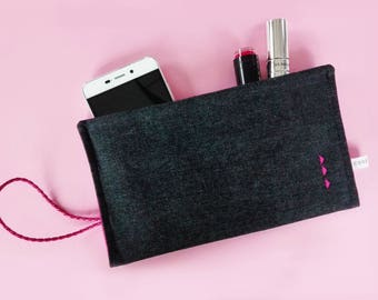 Black-Pink casual clutch bag Denim jeans handbag Wristlet Makeup bag Envelope bag Pencil case