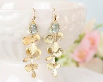 Cascading Orchid Earrings Gold Drop Earrings, Gold Bridal Drop Earrings, Flower Gold Earings, Gold Blue Wedding Earrings